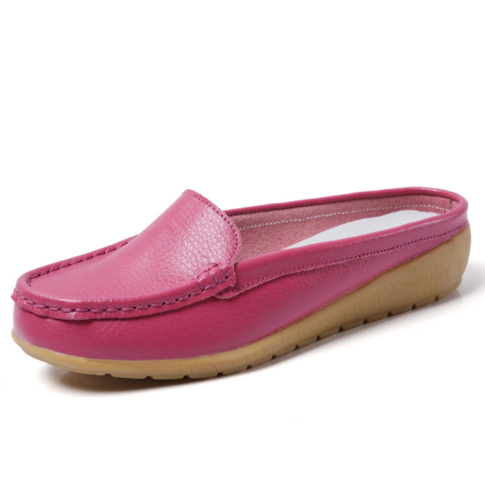 Raspberry Leather Low Heel Loafer (3955512377431)