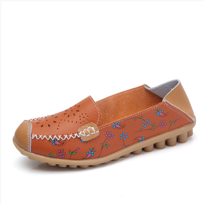 Beige Floral Leather Loafer (4689528684631)