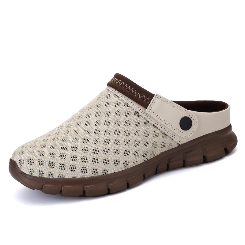 Brown Garden Woven Slip On Clog (4689097785431)