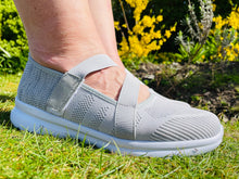 Load image into Gallery viewer, Grey Strap Woven Trainer