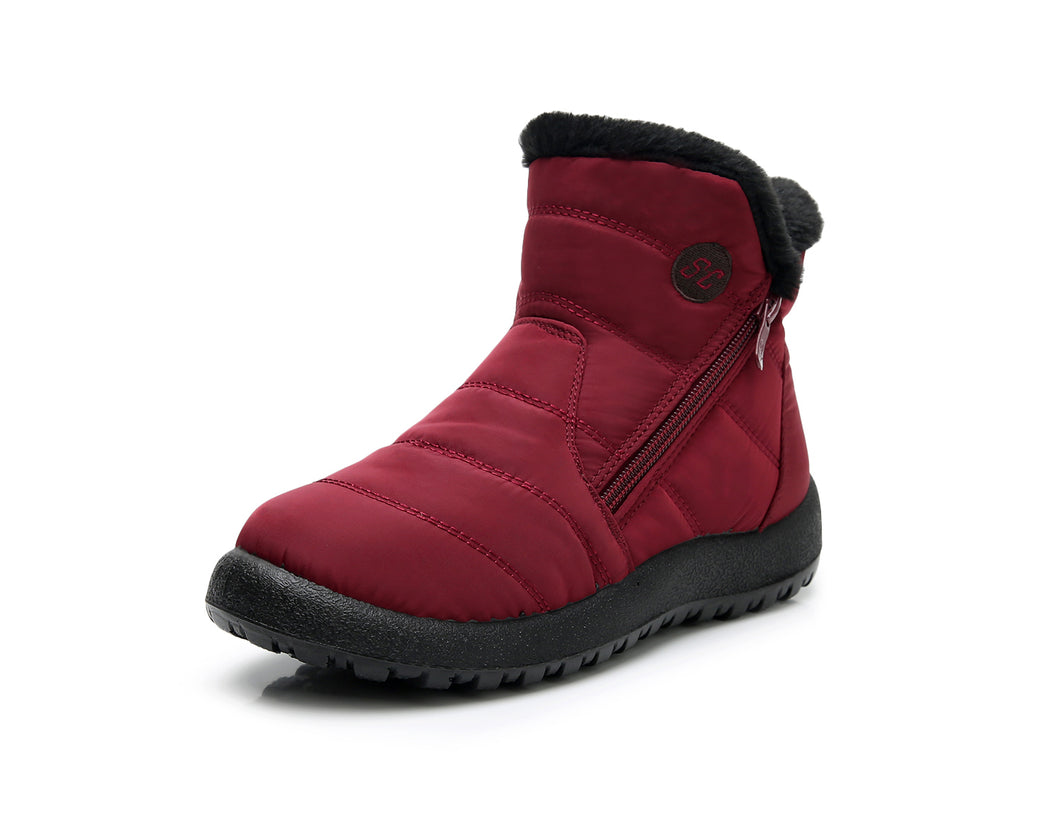 Burgundy Zip Winter Ankle Boots (4158478352471)