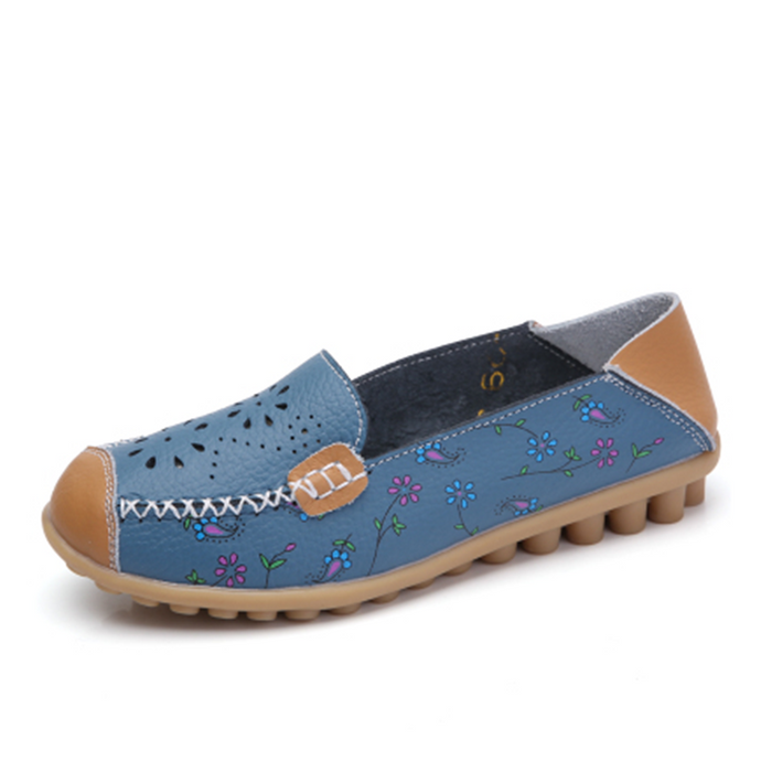 Blue Floral Leather Loafer (4689527078999)