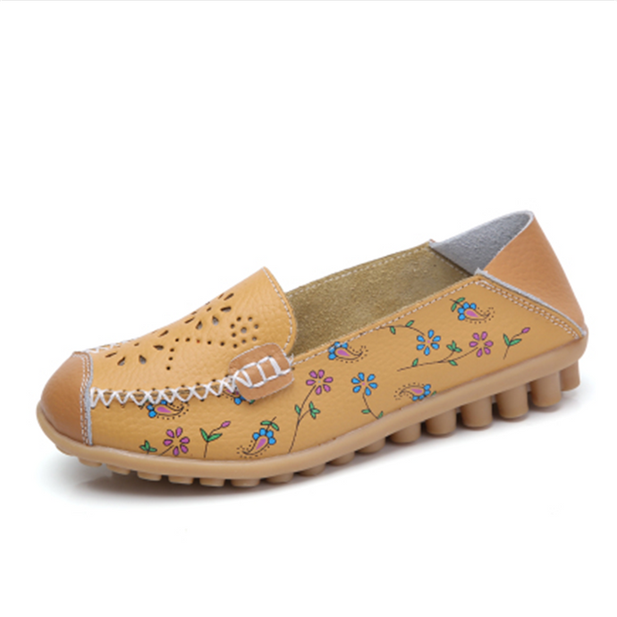 Mustard Floral Leather Loafer (4689459249239)