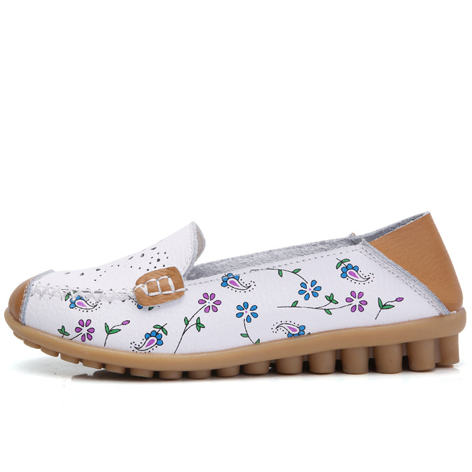 White Floral Leather Loafer (4689527701591)