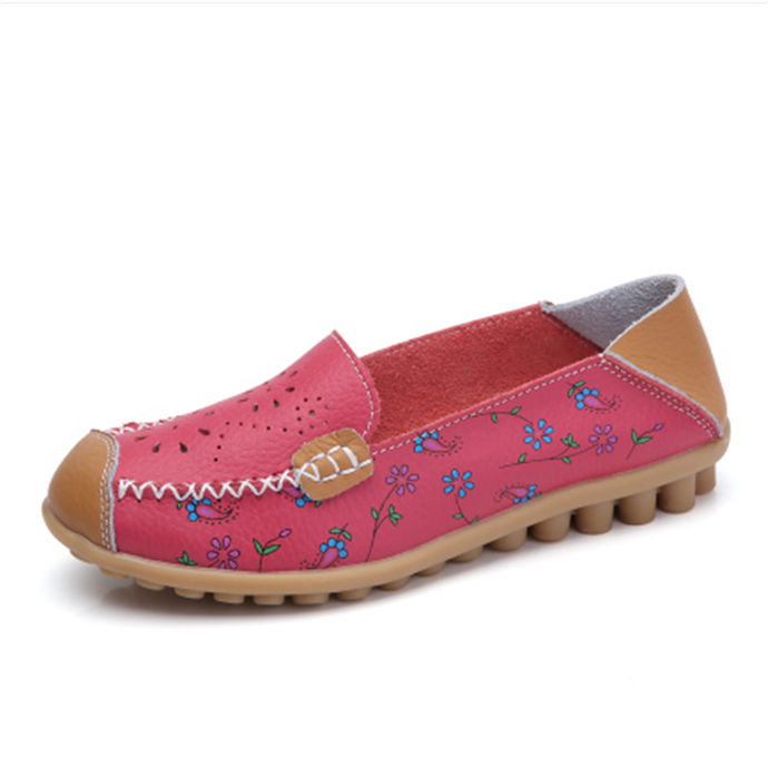 Red Floral Leather Loafer (4689528225879)