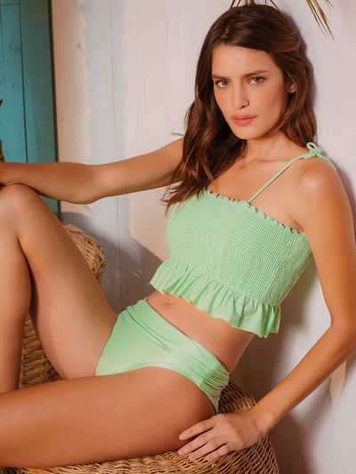 Smocked Cropped With Adjustable Pants Bikini
