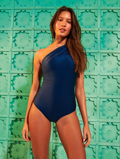 One Shoulder Ribbed One Piece Swimsuit