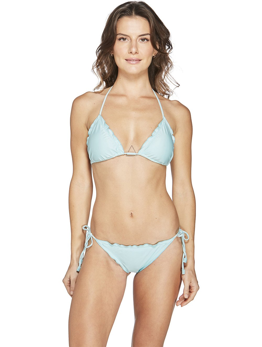 Ruffled Triangle Tie Side Bikini