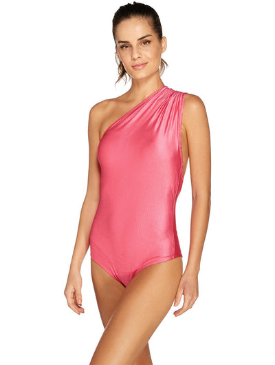 One Shoulder Ribbed One Piece