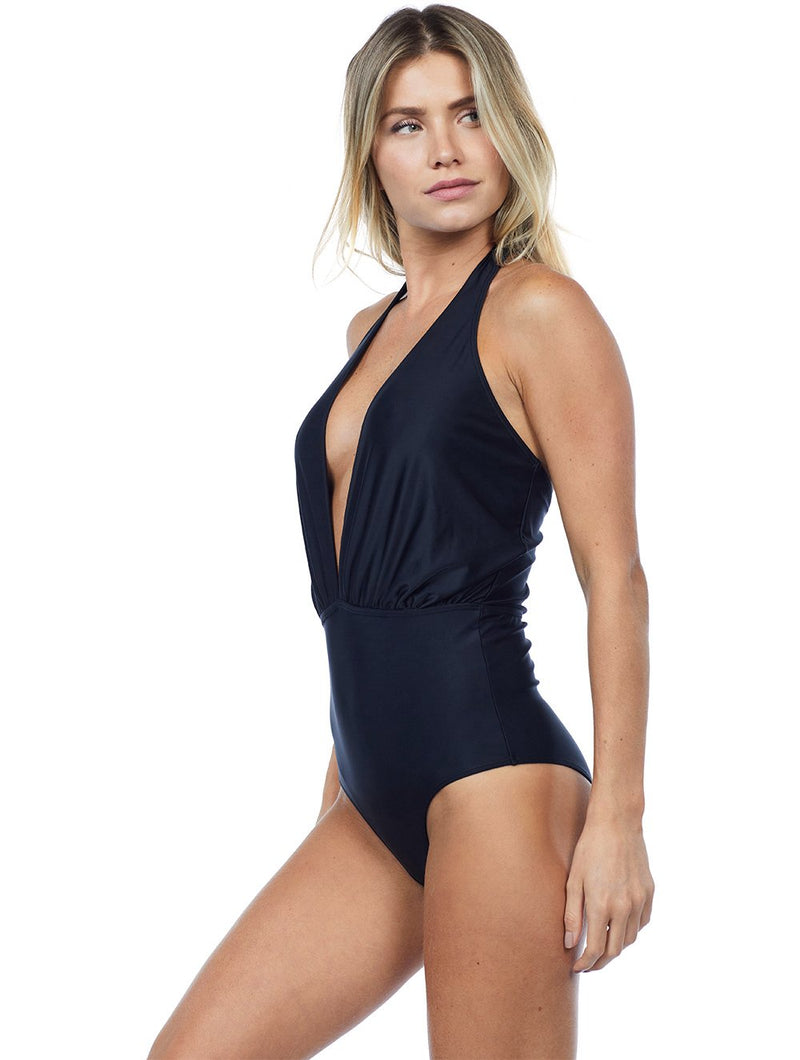 Deep V Halter Neck One Piece