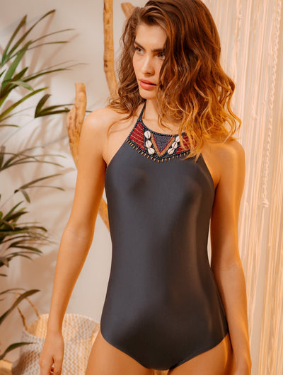 Interlaced Embroidered Halter One Piece