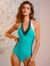 Tricolor Halter V Neck One Piece