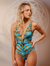 Tourmaline Twist Front Deep V One Piece