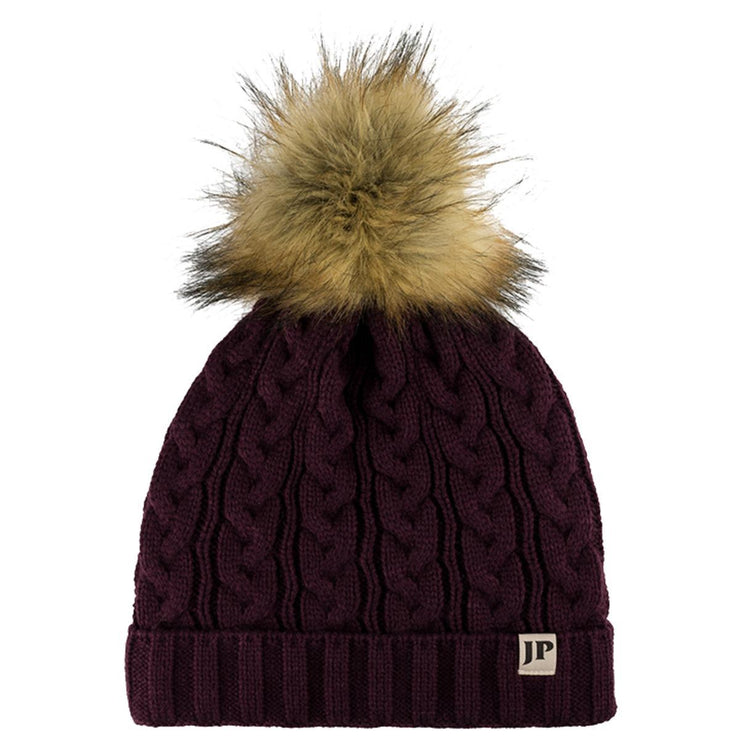 Ladies Cable knit bobble hat