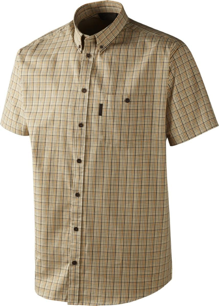 River S S shirt White asparagus check