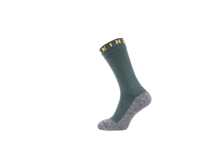 Soft Touch Mid Length sock Green Grey Orange