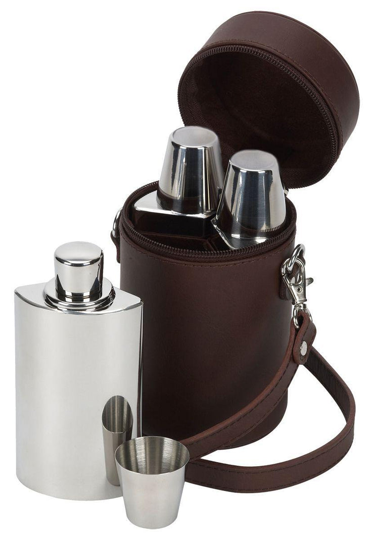 Brown Leather Travel Bar Whisky Set