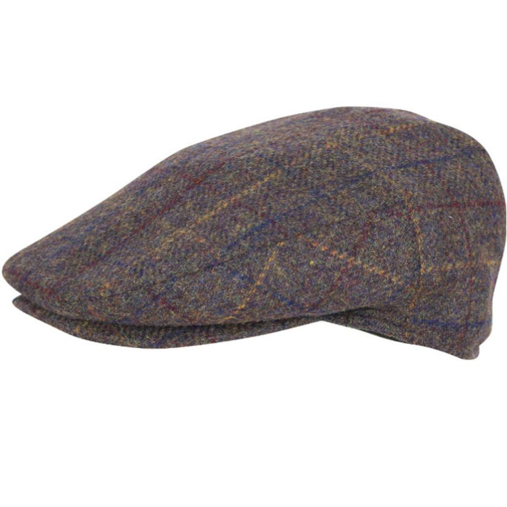 Wool Blend Flat Cap Brown Check