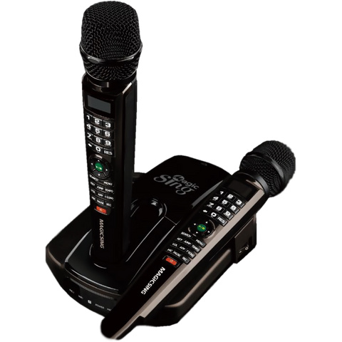 Magic Sing ET23Pro · Two Wireless Mics · Built-in English+Tagalog 5,145 Songs · 10,000+ English Songs · Song Chip Compatible · Requires WiFi