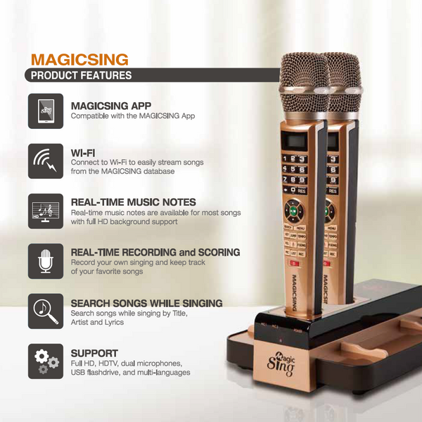 Description of the functions for the MagicSing E5 with two wireless microphones