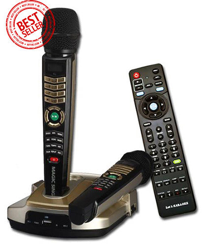 Refurbished MagicSing ET-23KH · HD Resolution Karaoke · Two (2) Wireless Microphones · English · Spanish · Tagalog · Built-in Songs · One (1) FREE Pop Song Chip Included