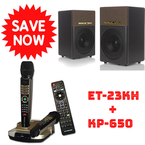 Bundle · ET-23KH + KP-650  · Bluetooth Speakers System · Built-in Songs · Includes Two (2) Wireless Microphones + One (1) Wired Microphone · Enhanced Karaoke Experience