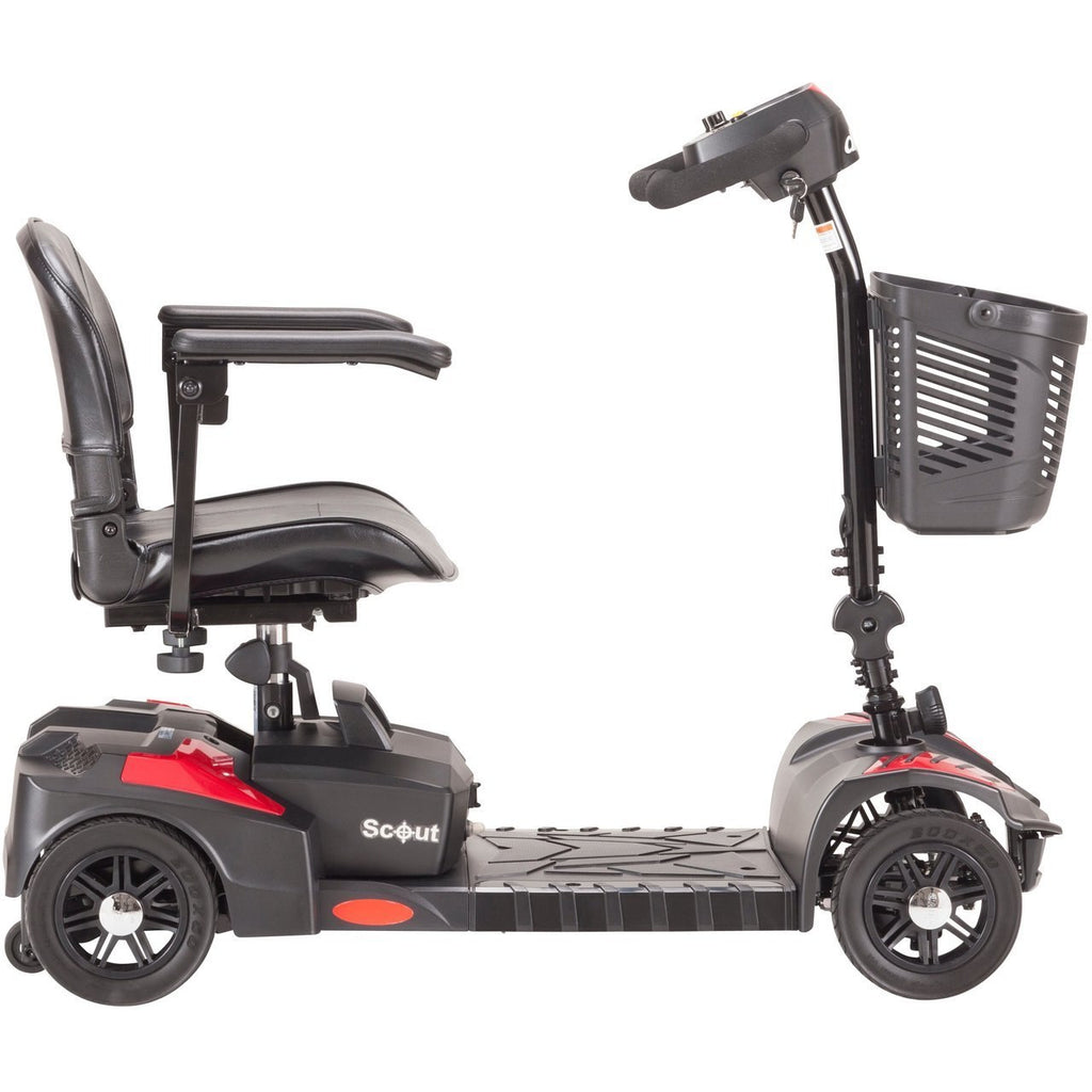Drive Scout Compact 4-Wheel Travel Power Mobility Scooter - Red