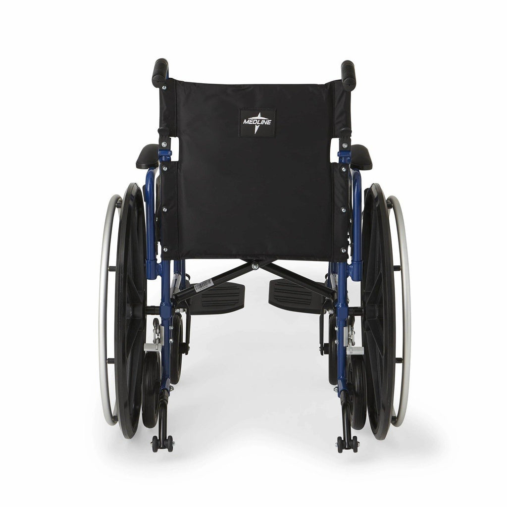 Medline Hybrid 2 Transport Wheelchair - Blue