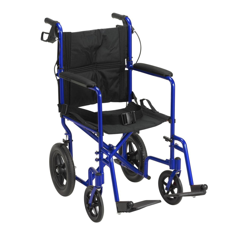 Drive Lightweight Expedition Transport 19-Inch Wheelchair With Hand Brakes - Blue