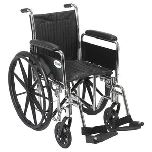 "Drive Chrome Sport Wheelchair - Detachable Desk Arms, Swing Away Footrests - 18"" Seat"