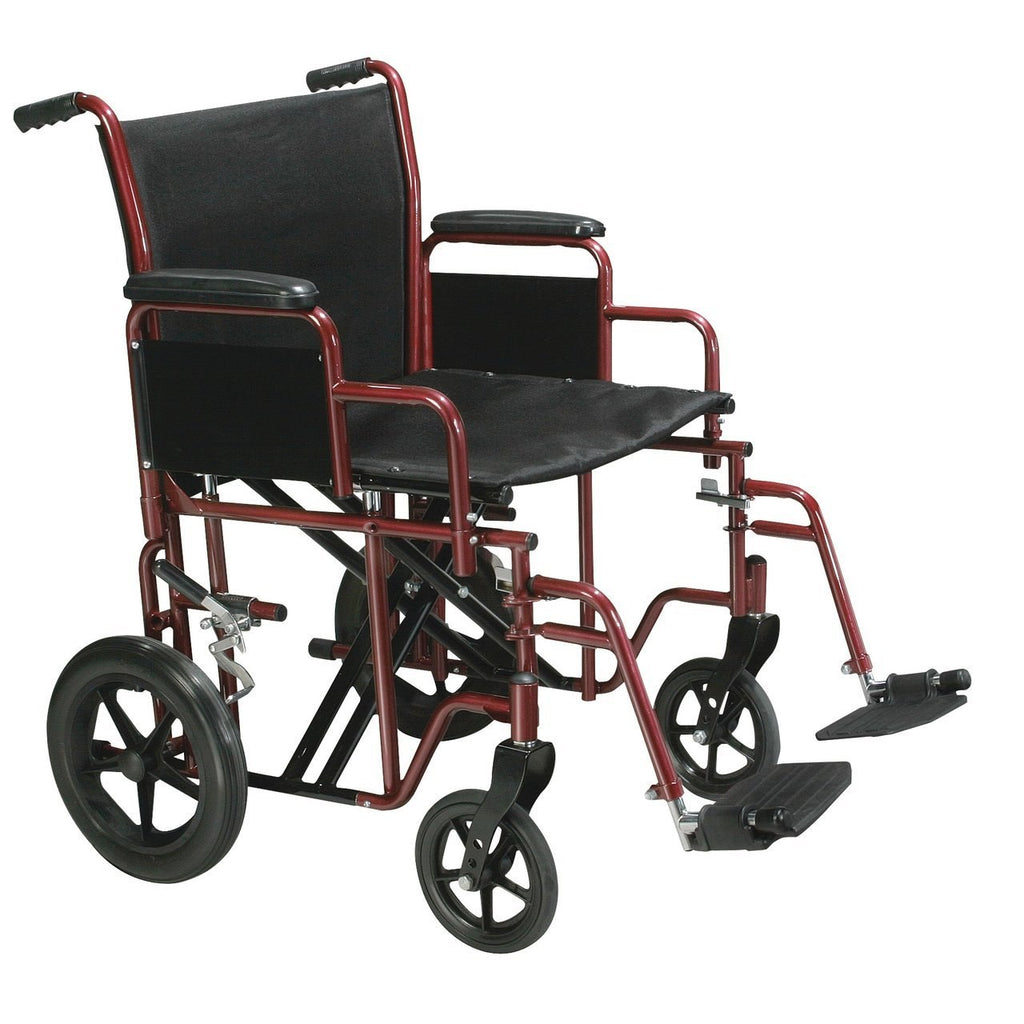 "Drive Bariatric Heavy-Duty Transport Wheelchair With Swing-Away Footrest - Red, 22"" Seat"