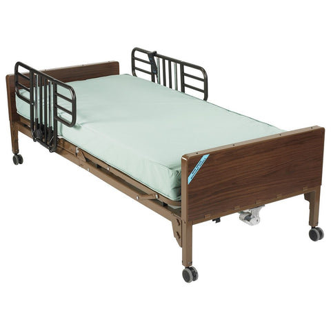 Image of Drive Delta Ultra-Light Full Electric Bed - Half Rails and Therapeutic Support Mattress