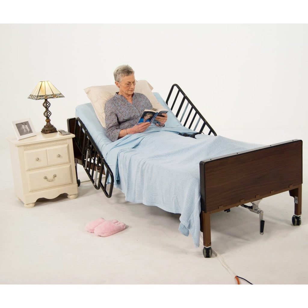 Drive Delta Ultra-Light Full Electric Bed - Half Rails and Therapeutic Support Mattress