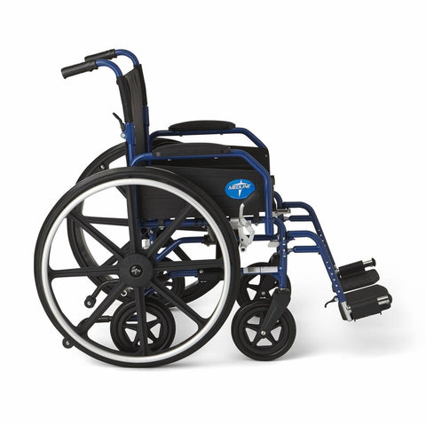 Image of Medline Hybrid 2 Transport Wheelchair - Blue