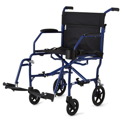 Medline Super Lightweight Transport Chair - Blue