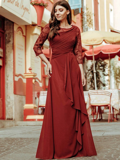Women's 3/4 Sleeve Front Wrap Dress Floor-Length Bridesmaid Dress