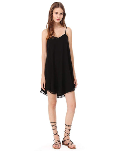 Alisa Pan Short Flowy Black Dress with Cross Back