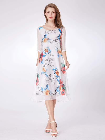 Alisa Pan Long Sleeve Floral Print Midi Dress