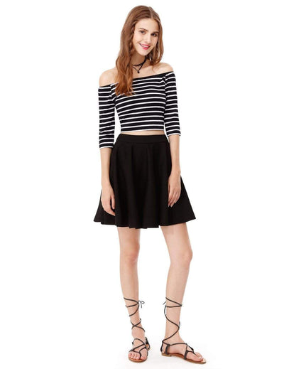 Alisa Pan Striped Off Shoulder Crop Top and Skirt Set