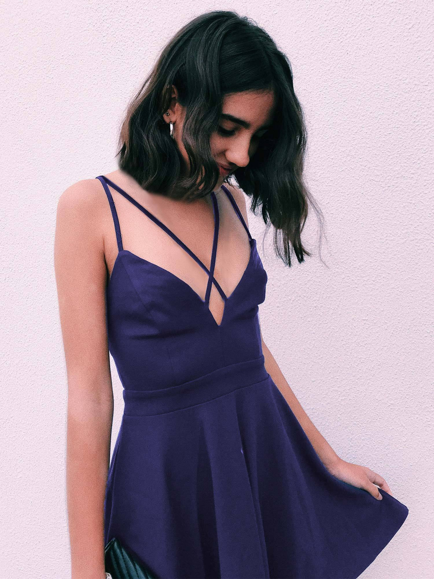7997cb3aa216a Alisa Pan V Neck Strappy Fit and Flare Dress|Ever-Pretty - Ever ...