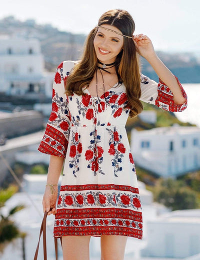 Alisa Pan Long Sleeve Boho Dress with Floral Print