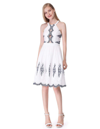 Alisa Pan Sleeveless Embroidered Halter Dress