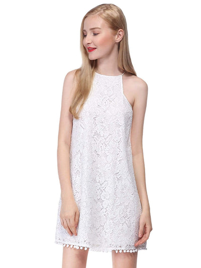 Alisa Pan Lace Shift Dress with Pom Poms