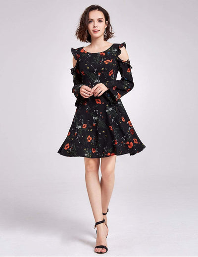 Alisa Pan Floral Print Cold Shoulder Dress