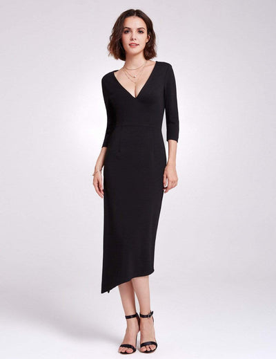 Alisa Pan Long Sleeve V Neck Cocktail Dress
