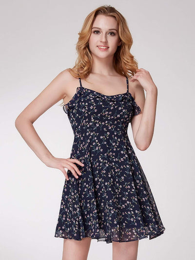 Alisa Pan Spaghetti Straps Floral Print Fit & Flare Dress