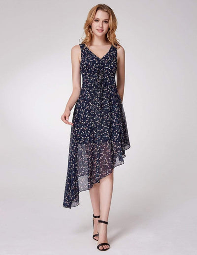 Alisa Pan Floral Print High Low Fit & Flare Dress