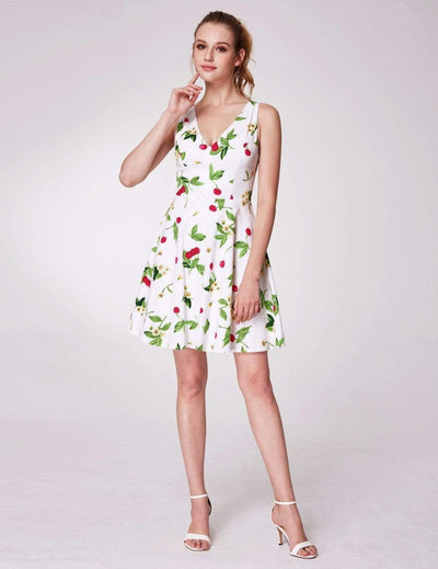 Alisa Pan V Neck Cherry Print Summer Dress