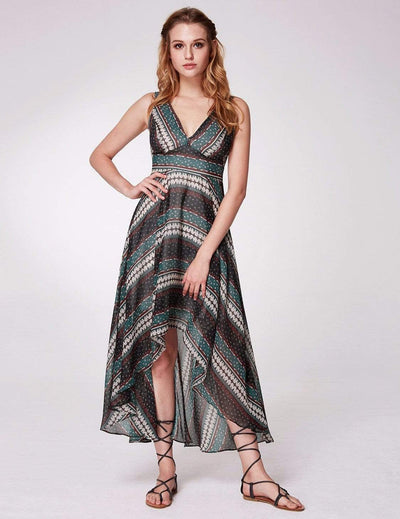 Alisa Pan High Low Printed Boho Maxi Dress
