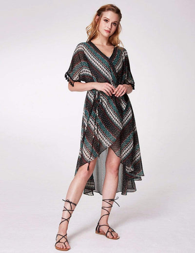 Alisa Pan Printed Bohemian Wrap Dress